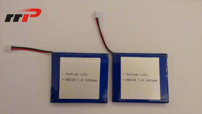 7.4V 886168 2400mAh Lithium Polymer Battery Packs KC IEC62133 EN62133