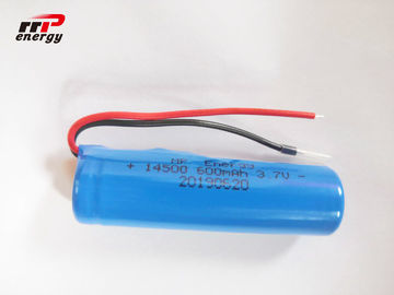 Cylindrical Shape Rechargeable Lithium Ion Batteries 3.7V 14500 600mAh IEC CB MSDS