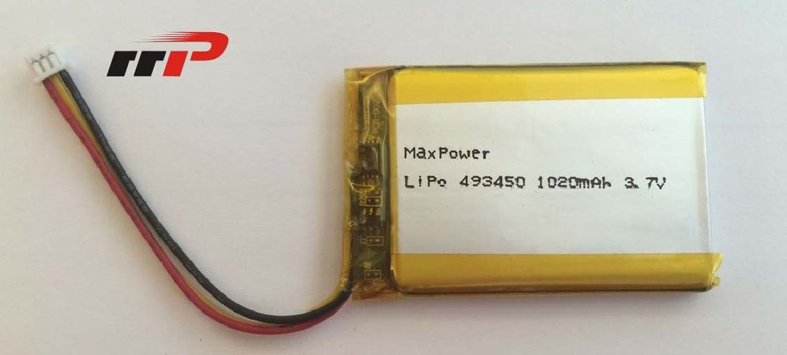 3.7V 493450 1020mAh Samll LiPolymer Battery Packs IEC62133 For GPS