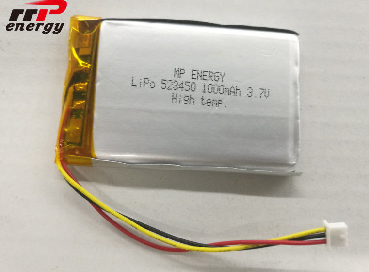 High Temperature Lithium Polymer Battery 3.7V GPS 523450 1000mAh Capacity