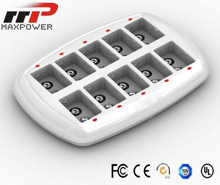 12V LCD Battery Charger 10 Position , 1500mA Rechargeable Batteries