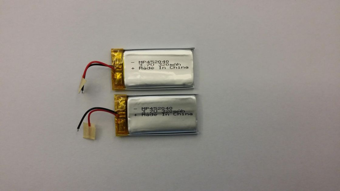 IEC62133 3.7V Lithium Polymer Battery MP452040 320mAh Video Recorder UN38.3