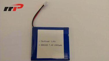 China 7.4V 886168 2400mAh Lithium Polymer Battery Packs KC IEC62133 EN62133 distributor