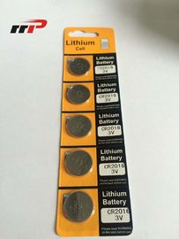 China Primary Button Cell 75mAh CR2016 Lithium Battery 3.0V / Li-MnO2 Blister Card Coin Battery distributor
