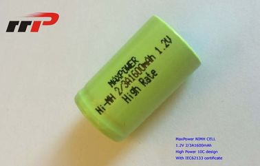 China 2/3A1600mAh 1.2V NIMH Rechargeable Batteries IEC62133 High Rate 10C distributor