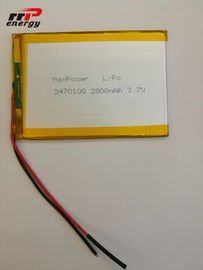 China 2800mAh Capacity Lithium Polymer Battery 3470100 3.7V Laptop Notebook Application distributor