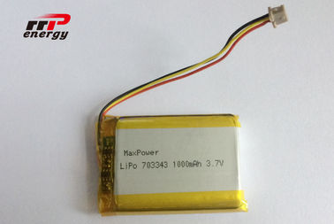China 703343 1000mAh Lithium Polymer Battery 3.7V High temperature BIS UN38.3 distributor