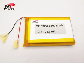 China 3.7V 8000mAh Lithium LiPolymer battery 125685 GPS Tracker Battery IEC distributor