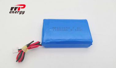 China 603450 7.4V 2S1P 1100mAh Lithium Polymer Battery CB IEC Prismatic 500 Cycles Life distributor