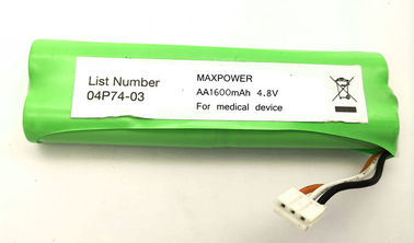 NIMH AA1600mAh 4.8V battery pack 3C discharge for Medical Device with UL IEC/EN61951 certification